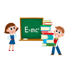 Boy and girl at physics lesson in school vector