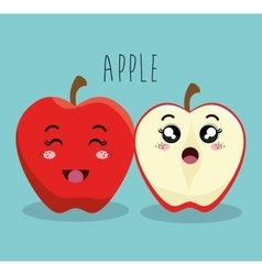 Cartoon apple fruit facial expression design vector