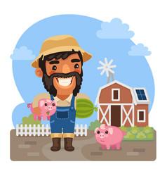 cartoon male farmer with a piggy vector image