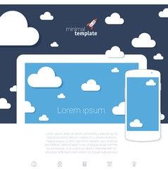 Cloud scape mock up vector