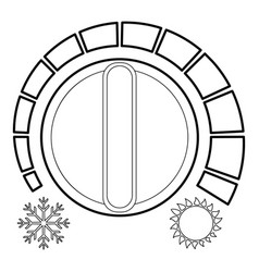 Cold heat regulator icon outline style vector