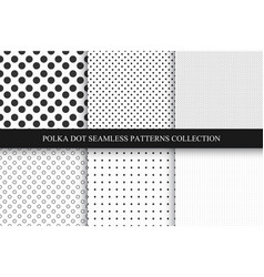 Collection seamless dots patterns polka dot vector
