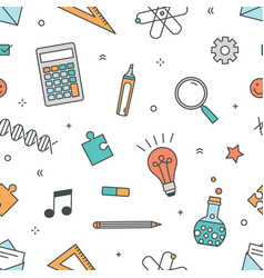 colored seamless pattern with stationery and items vector image