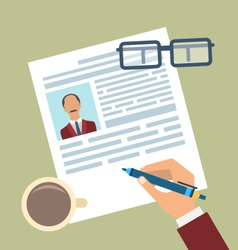 Concept of Resume Writing Flat Simple Icons vector image