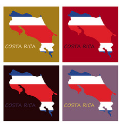 Costa rica flag map vector