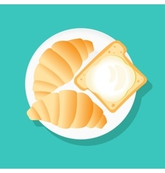 Croissant and bread icon vector