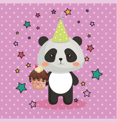 Cute bear panda with cupcake kawaii birthday card vector
