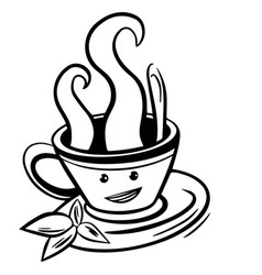 cute cartoon cup tea or coffee line sketch vector image