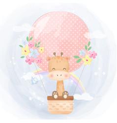 Cute giraffe and air balloon vector