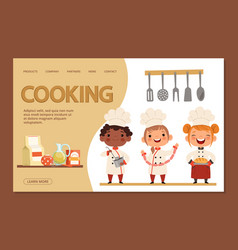 cute kids chefs - cooking landing page banner vector image