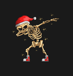 cute skeleton christmas dabbing dance vector image