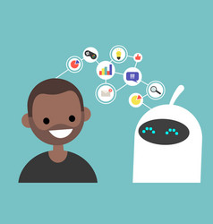 data transfer conceptual human and robot vector image