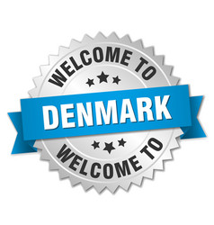 Denmark 3d silver badge with blue ribbon vector