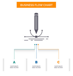 design pen graphic draw business flow chart vector image