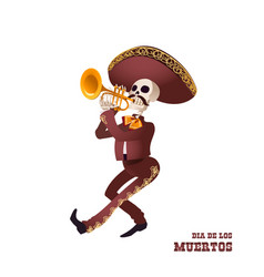 Dia de muertos mariachi musician skeleton trumpet vector