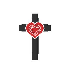Diamonds inside heart on cross vector