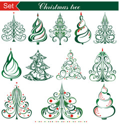 different christmas tree set vector image