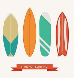 different surfboard set flat design various surf vector image