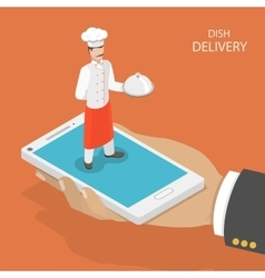 Dish fast delivery flat isometric concept vector
