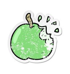 Distressed sticker of a cartoon bitten apple vector
