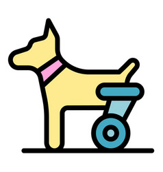 Dog hind legs trolley icon color outline vector