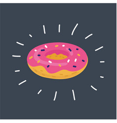 donut on dark backgrounds vector image