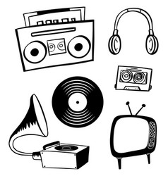 Doodle items for entertainment vector