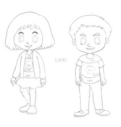 drafting characters for kids from laos vector image