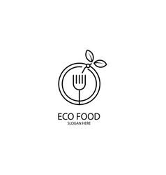 Eco food monoline logo template vector