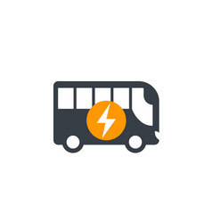 Electric bus icon isolated on white vector