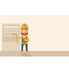 Electrician repairing an electrical panel vector image