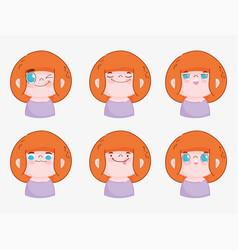 emojis kawaii cartoon faces funny young boy vector image