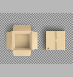 empty open and closed cardboard box isolated vector image
