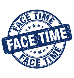 Face time blue grunge stamp vector