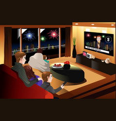 Family spending time together on new year eve vector