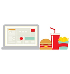 Fast Food Beside Laptop For Worker vector image