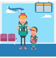 Father and Son Waiting to Departure in Airport vector image