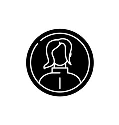 female profile black icon sign on isolated vector image