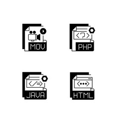 file types black linear icons set vector image
