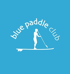 Flat design style of stand up padlle club lo vector