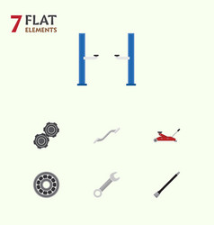 flat workshop set of pipeline auto jack spanner vector image