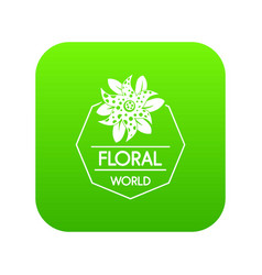 flower world icon green vector image