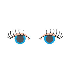 full color vision eyes with eyelashes style design vector image