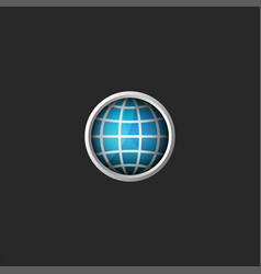 globe logo 3d creative abstract blue planet icon vector image