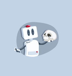 Hamlet robot holding skull asking question vector