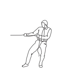 Hand drawn business man pulling rope strong vector