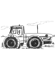 Hand drawn tractor isolated on white vector