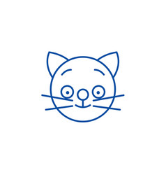 happy cat emoji line icon concept happy cat emoji vector image