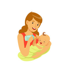 Happy mother holding her baand feeding vector