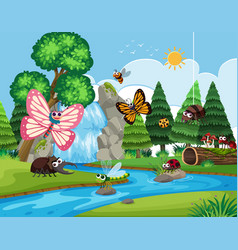 Insects in river scene vector